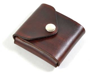 Handmade Leather Card Wallet Hand Dyed Mahogany Brown Vegetable Tanned