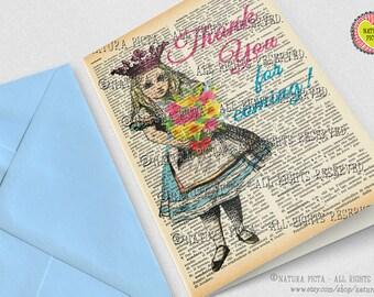 Alice thank you card-Alice Birthday card-Alice in Wonderland card-custom card-handmade card-blank card-retro card-set of 3 card-NATURA PICTA