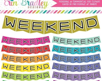 80% OFF SALE Weekend Banner Clipart Graphics, Commercial Use Clip Art Bunting Flags, Planner Clip Art