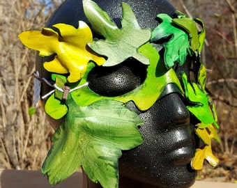 READY TO SHIP Green Man Leather Leaf Mask - Oak Leaf Costume Mask