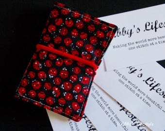 Credit card holder - Business card wallet - Lady Beetles small credit card wallet. Handmade.