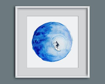 Painting of surfer, watercolour of surfer, surf watercolour, surf art, surf painting, watercolour painting, picture of surfer, giclee