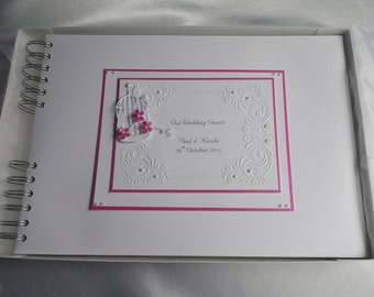 Wedding /Engagement Guest Book,,Personalised, A4 ,Embossing With Bird Cage And Flowers,Boxed,Colour Choice