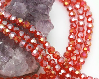 Lot of 5 strands 6mm Red AB Chinese Glass Round Loose Spacer Beads 98 beads/strand (BH5375)