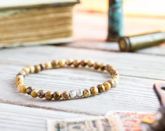 4mm - Brown Jasper stone beaded stretchy bracelet with sterling silver beads, made to order bracelet, mens bracelet, mens beaded bracelet
