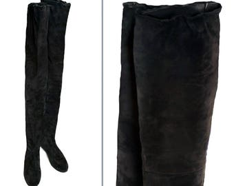 1980's Designer Perry Ellis Black Suede Thigh High Vintage Boots - Size 6 1/2 - Leather