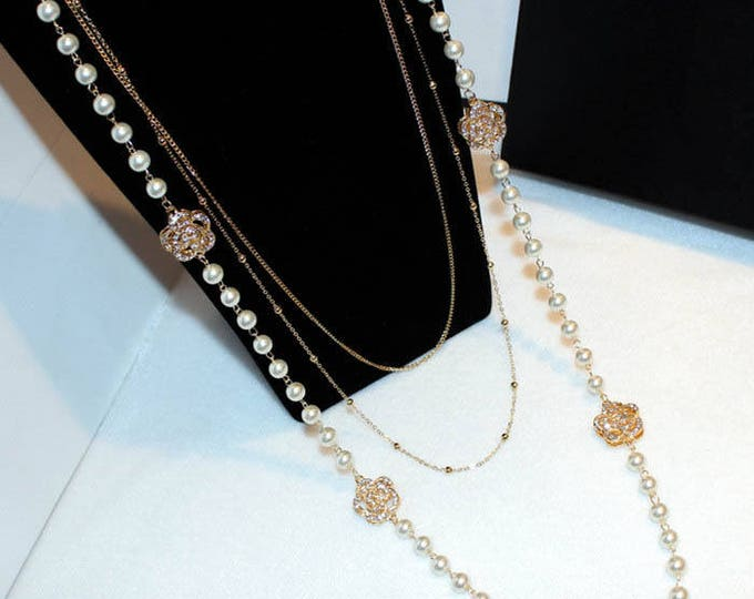 Silver necklace pearl glass charms style pandora with chain tassels gift idea