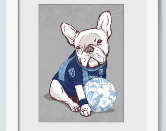 Kansas City Soccer - French bulldog - Sporting - KC - Home Decor Wall Art - Art Print