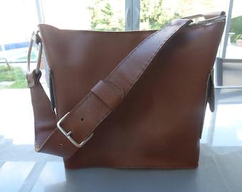 Brown and beige leather shoulder bag