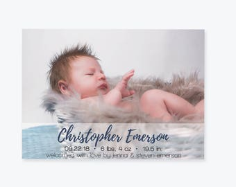 Baby Birth Announcement Photo Invitation Template, Baby Boy Or Girl Printable Birth Announcement, Editable PDF Templates, DIY You Print