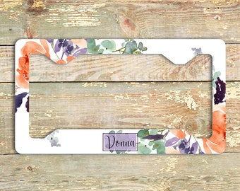 Floral license plate cover, Orange and purple, Monogrammed car decor, Unique gift for mom, Matching car accessories, Custom Gift Set (1772)