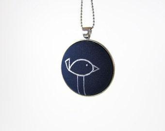 Navy blue bird pendant - Hand painted bird necklace - Long fabric pendant necklace -  Fabric button jewelry - Blue and Silver Animal Jewelry