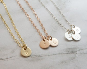 Custom Initial Necklace Personalized Family Name Necklace Gift for Mom Dainty Coin Necklace Rose Gold Silver Gold Tiny Disk Necklace