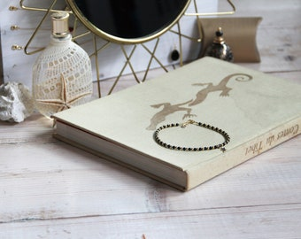 REKA bracelet plated gold gold filled & Onyx - summer jewelry, Bohemian, Gypsy, gift idea stone anniversary wife by Myo jewel