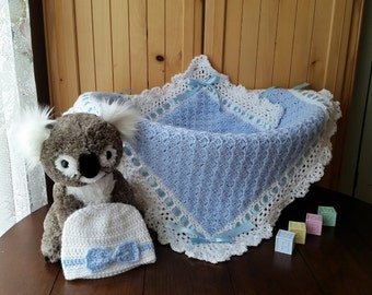 Crochet baby blanket, baby boy blanket and hat set, baby shower gift set