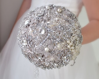 Brooch Bouquet Jewelry Wedding Bouquet Silver Bouquet Bridal Decorations Crystal Bouquet Ivory Bouquet Wedding Gift Bridesmaid Bouquet Bride