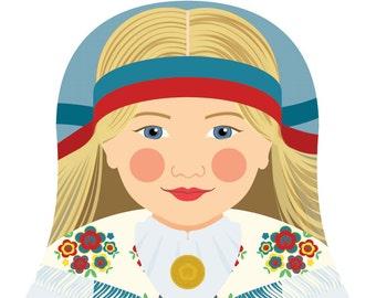 Finnish Wall Art Print features culturally traditional dress drawn in a Russian matryoshka nesting doll shape
