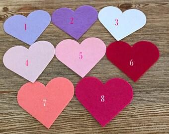 """6"""" Die cut felt hearts, Wool Felt Crafts, Valentine Project, Applique, banners, felt hearts, Love Banner, Valentine's Banner, Wedding Banner"""