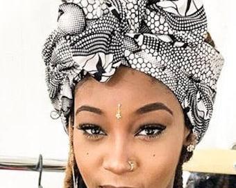 Black and White Printed scarf | Black and White Wax print Headwrap | Ankara headscarf | African Print Headscarf | Ladies Scarf | Print 24
