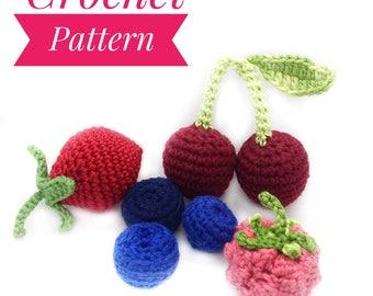 Crochet pattern Berry Crochet pattern Raspberry Pattern Strawberry Pattern Blueberry Pattern Amigurumi Pattern Cherry Crochet Pattern