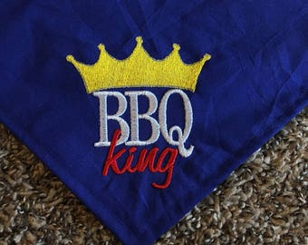 BBQ King Dog Bandana  For Summertime Cookouts