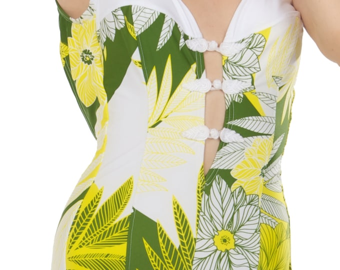 Farrah Swimsuit in White and Yellow Floral