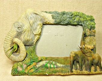 Vintage 3D Elephant Photo Frame, Wild Animal Picture Frame, Room Decor