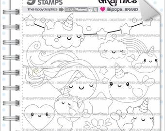Unicorn Stamp Commercial Use Digi Digital Image Narwhal Digistamp
