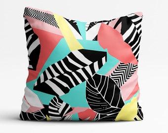 Cushion, Throw Pillow, Tropical, Housewarming Gift, Home Decor, Floral Print, Pillows, Colourful, Black, White, Abstract, Botanical Print