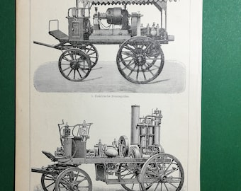 Fire Engines, original old print from an old german book, 1895