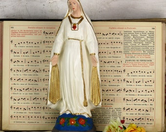 """Our Lady of Pellevoisin French Statue Plaster Extremely HTF Collector Virgin 15"""""""