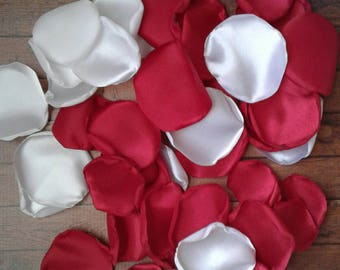 Red and white wedding, rose petals, satin rose petals, wedding petals, scatter petals, flower petals, scatter petals, wedding decorations.