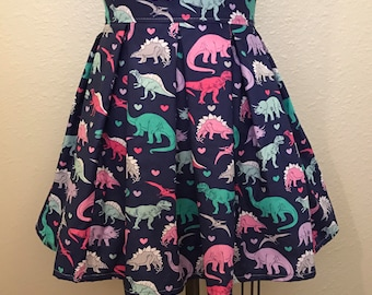 Navy, Green, and Pink Dinosaur Printed Adult High Waisted Skater Skirts