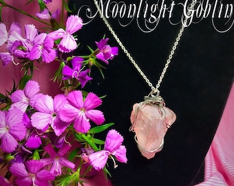 Bold pink wire wrapped necklace