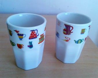 """Vintage Set of 4 AFIBEL France White Porcelain Custard Cups Tumblers 3""""H"""