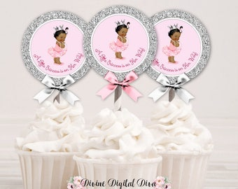 Cupcake Topper Circle Princess Ballerina Pink Tutu & Silver Crown | African American Little Princess | Digital Instant Download