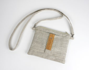 Natural linen and woven leather shoulder pouch