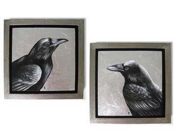Regal Raven painting - corvid painting in black and white - metallic silver - black bird - dark wings dark words - nevermore raven painting