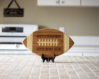 Custom Football Engraved Cutting Board, Personalized Sports Cutting Board, Superbowl Gifts, NFL Team Cutting Board, Bamboo Wood