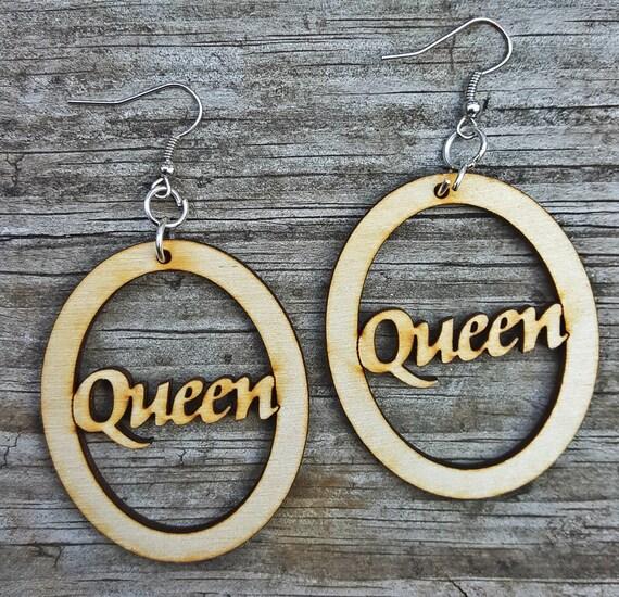 Queen Wooden Earrings