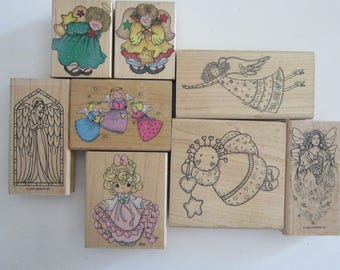 rubber stamp - YOUR CHOICE - ANGELS, Precious Moments So Many Hearts, country angel, Stampin Up - used stamps