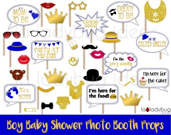 Baby shower selfie station props for Boy. Printable. Royal and gold. Photo props picture signs. DIY photo props. Instant download PDF file.