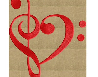 Treble Bass Cleff Heart - EMBROIDERY DESIGN FILE- Instant download - Exp Jef Vp3 Pes Dst Hus formats 2 sizes 1 color