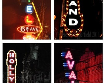 Portland Photography, Portland Neon Signs, SET OF 4, Art Photography, Motel, Avalon, Hollywood Sign, Street Signs, Twinkle Lights Home Decor