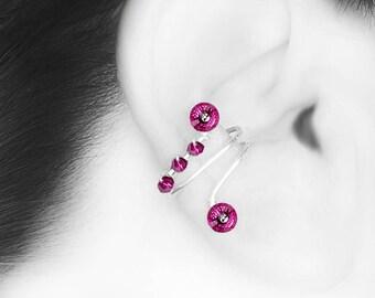 Pink Swarovski Crystal Ear Cuff, No PIercing, Cartilage Earring, Fuchsia Swarovski Crystals, Statement Earring, Triangulum Galaxy III v5
