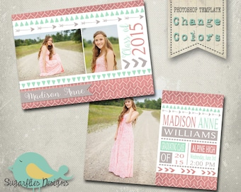 Graduation Announcement PHOTOSHOP TEMPLATE -  Aztec Senior Graduation 44