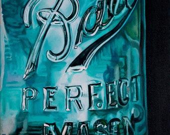 mason jar painting,mason jar print,fine art painting,fine art print,blue painting,kitchen art, canning painting,mason jar,rustic painting