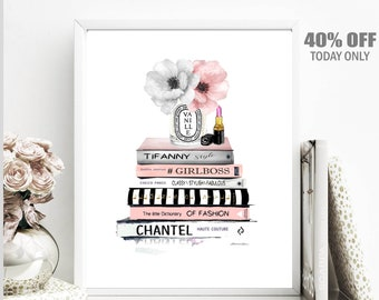 Fashion Books, Book Stack, Fashion Wall Art Print Fashion Wall Art Decor Fashion Poster, Diva Den Art Fashion Wall Art Decor Fashionista Art