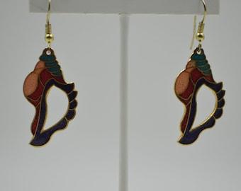 Vintage 80s pierced dangle earrings gold tone