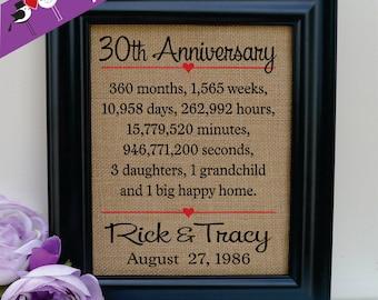 30th Wedding Anniversary Burlap Print, 30th Anniversary Gift, 30th Wedding Anniversary Gift, 30 years of Marriage, Burlap Sign (ann302-30)